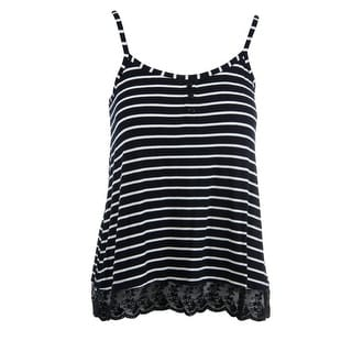 Ultra Flirt Womens Juniors Jersey Striped Tank Top