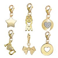 Julieta Jewelry Mothers Day Gold Over Sterling Silver 6 Charm Set