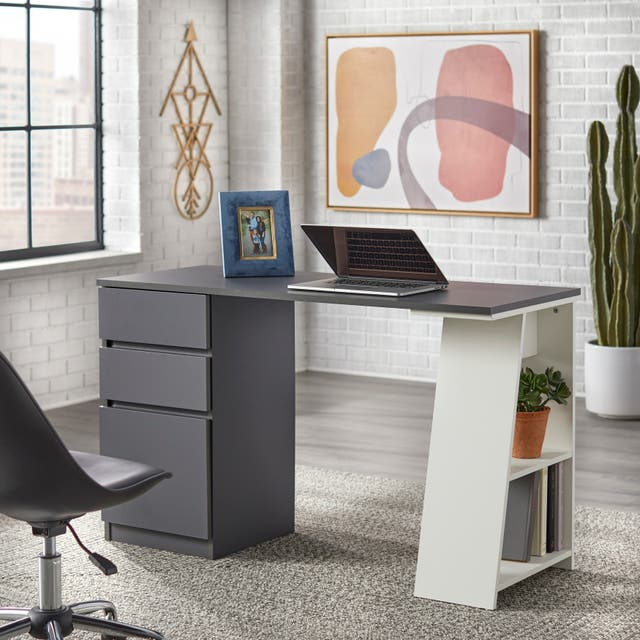 Simple Living Como Modern Writing Desk - Grey/White