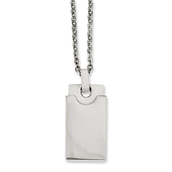 Chisel Stainless Steel Polished Square 22in Necklace (2 mm) - 22 in