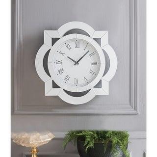 Wood & Mirror Round Analog Wall Clock, White