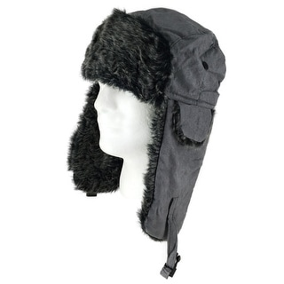 CapRobot Fashion Trooper Aviator Bomber Suede Hat - Charcoal - Grey