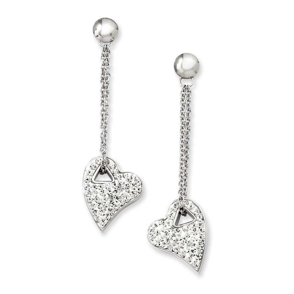 Stainless Steel Clear Crystal Heart Post Dangle Earrings