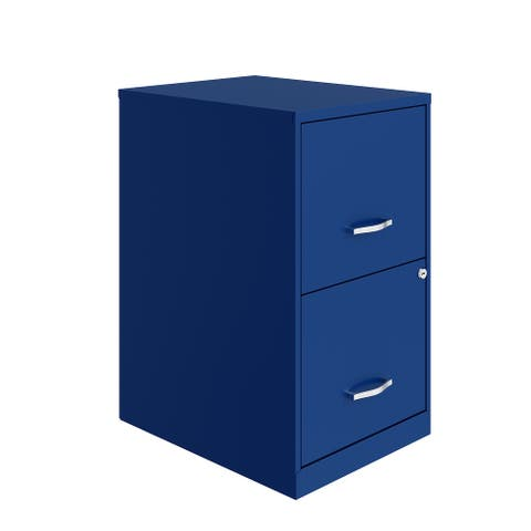 Space Solutions 18in. 2 Drawer Metal File Cabinet, Classic Blue