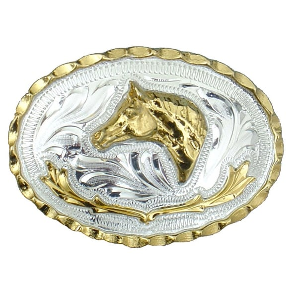 German Silver Tone and Gold Tone Horsehead Belt Buckle - One size