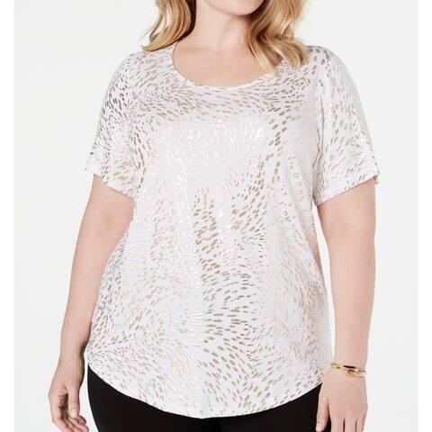 JM Collection Women's Top Gold Size 1X Plus Knit Scoop Neck T-Shirt