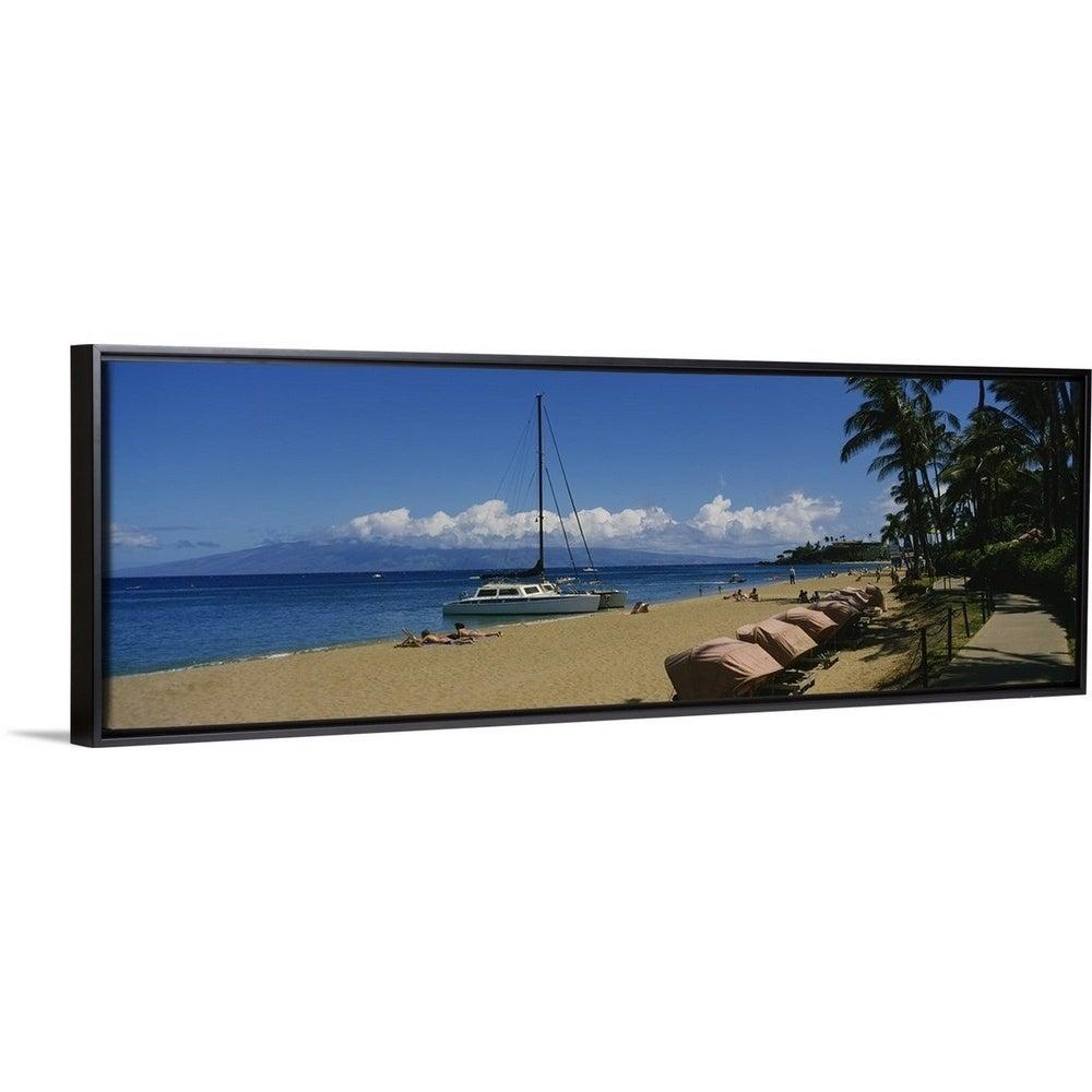 Tourists On The Beach Black Rock Kaanapali Beach Maui Hawaii Black Float Frame Canvas Art
