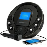 "Electrohome Karaoke Machine Portable Speaker System CD+G/MP3+G Player with 3.5"" Video Screen, 2 Microphone Connections"