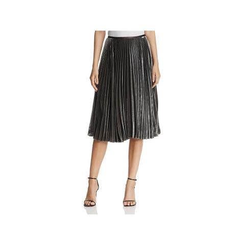 Lafayette 148 New York Womens Ranella Pleated Skirt Silk Velvet