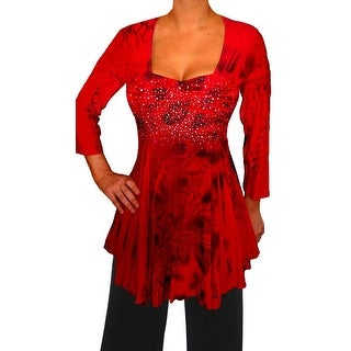 Funfash Plus Size Red Top Rhinestones Empire Waist Long Sleeves Top Shirt Blouse