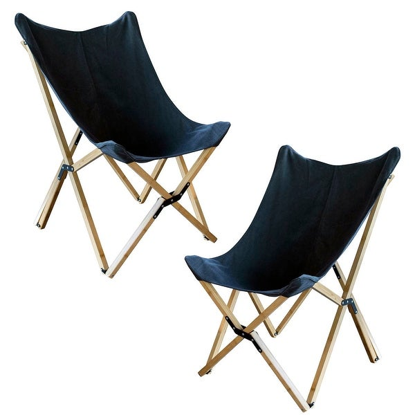 Offex Woven Canvas and Bamboo Butterfly Sling Chair, Black - 2 Piece Set