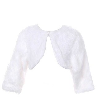 Rain Kids White Faux Fur Pearl Button Shrug Bolero Baby Girls 6M-3T