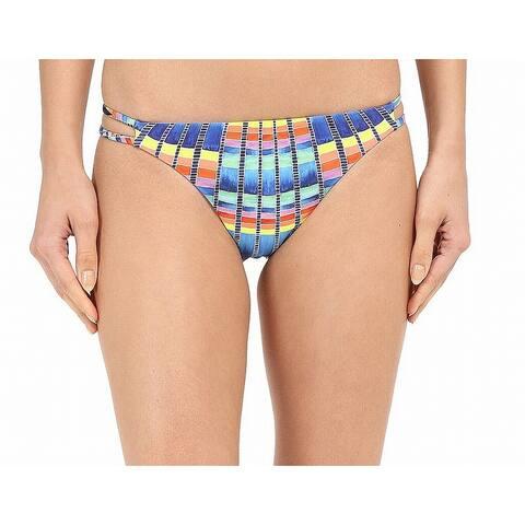 Mara Hoffman Blue Womens Size S Printed Cutout Swim Bikini Bottom