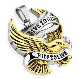 """""""Live to Ride Ride to Live"""" Gold IP Eagle Stainless Steel Pendant (33 mm Width)"""