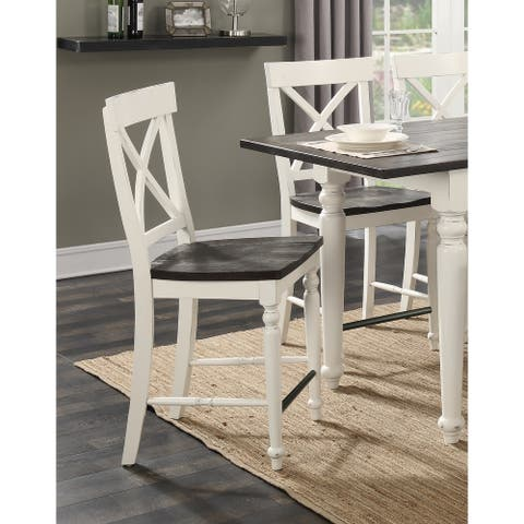 The Gray Barn Crooked Cottage X-back Barstool with Wood Seat (Set of 2)