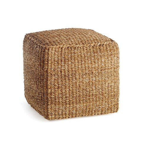 Napa Home and Garden SG2033 Seagrass 17 1/2 Inch Wide Rattan Pouf - Brown