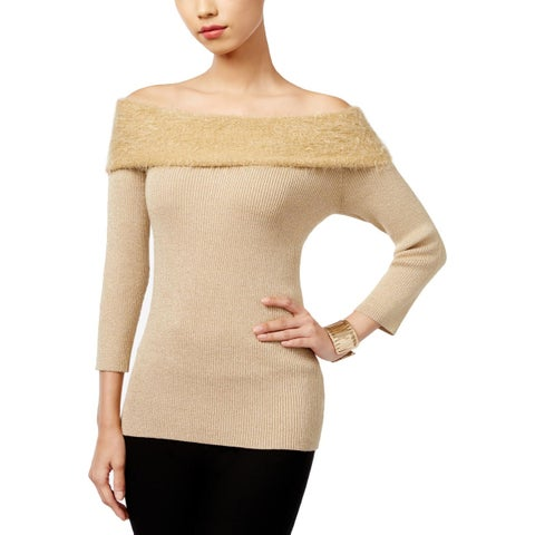 NY Collection Womens Pullover Sweater Off-the-Shoulder Fitted