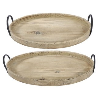 "Set of 2 Camel Brown Farmers Market Rustic Tray with Handles 21"" - N/A"