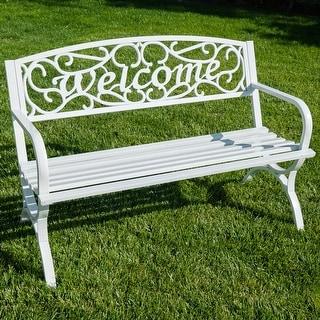 "Belleze Outdoor Park Bench 50"" inch Welcome Elegance Design Seat Backyard Steel Frame"