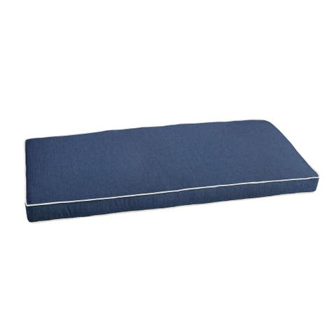 """Sunbrella Indigo Blue with Ivory Indoor/ Outdoor Bench Cushion 55"""" to 60"""", Corded"""