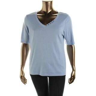 Karen Scott Womens Cotton Embellished Casual Top - M