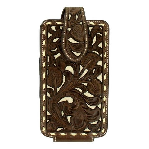 Nocona Western Cell Phone Case Ivory Lacing Elastic Tan Brown - Tan Brown