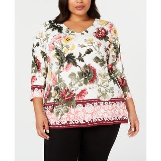 Link to Charter Club Womens Knit Top White Size 2X Plus V-Neck Floral-Print Similar Items in Tops