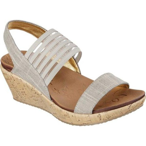 2ac9b26af07 Shop Skechers Women s Beverlee Smitten Kitten Wedge Sandal Taupe ...