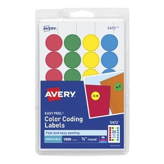 Avery Removable-Adhesive Round Color Coding Labels For Laser and Inkjet Printers, 3/4 in, Blue, Green, Red, Yellow, Pack of 1008