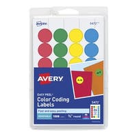 Avery Removable-Adhesive Round Labels, 3/4 Inches, Assorted Colors, Pack of 1008