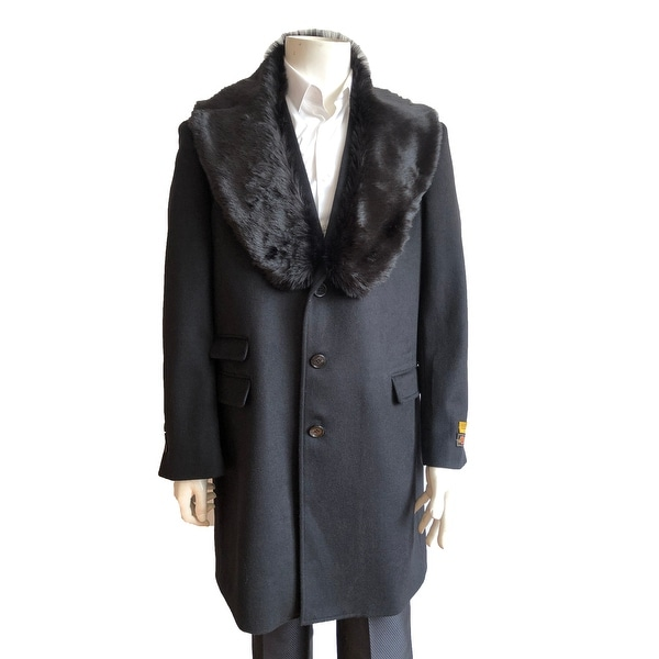 Mens Three Quarter Length Wool Car Coat with Removable Faux Fur Collar. Opens flyout.