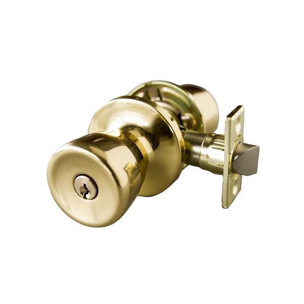 Design House 728089 Terrace Single Cylinder Keyed Entry Door Knob Set    Polished Brass   N