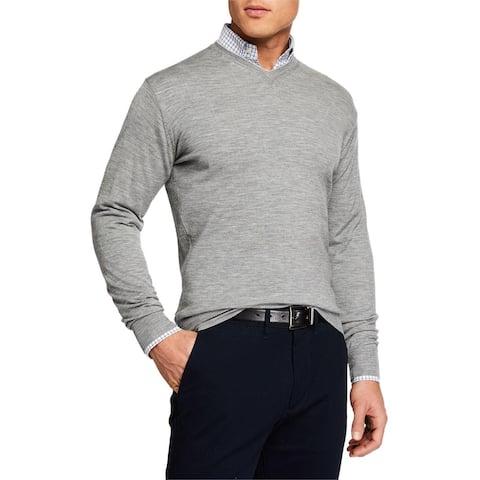 Peter Millar Mens Sweater Gray Size Large L Coastal Pullover Crewneck