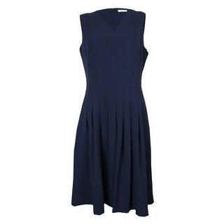 Calvin Klein Women's Sleeveless V-Neck Seamed Flared Dress - 6
