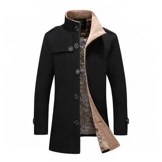 Link to Men's Mid Long Wool Woolen Pea Coat Stand Collar Overcoat Winter Trench Coat Similar Items in Men's Outerwear