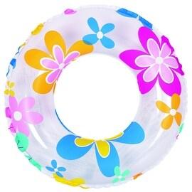 """24"""" Retro Flower Print Inflatable Swimming Pool Inner Tube Ring Float"""