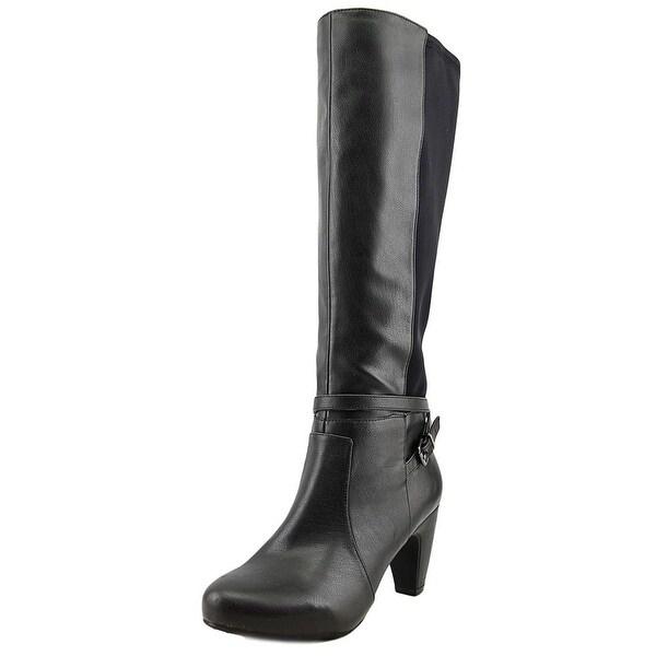 Easy Spirit Patrina Wide Calf Women Round Toe Leather Black Knee High Boot