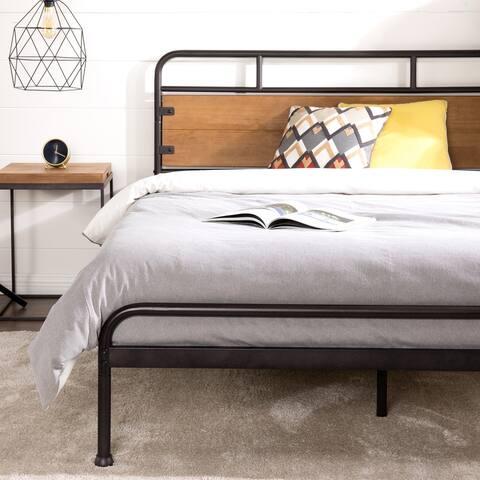 Priage by ZINUS Brown Metal and Wood Platform Bed Frame