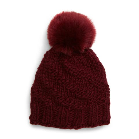 FREE PEOPLE Womens Maroon Fitted Chunky Knit Winter Beanie Hat Cap