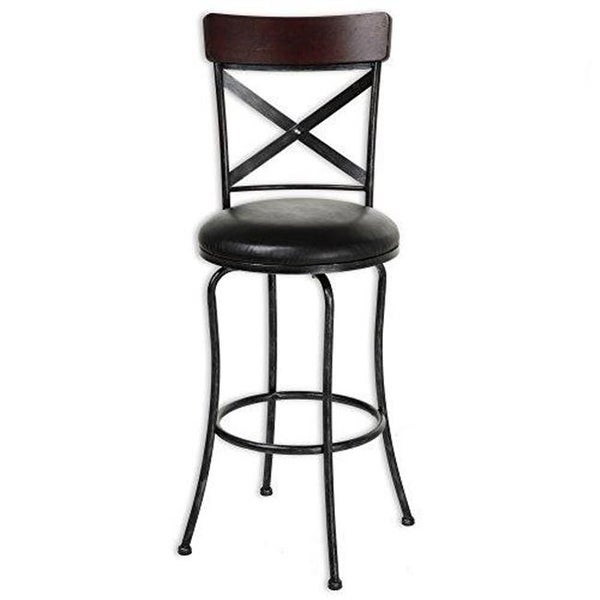 Shop 26 In Austin Metal Counter Stool With Black Upholstered Free
