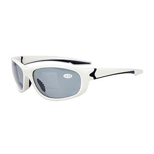 Eyekepper TR90 Unbreakable Sports Grey Lens White Frame Bifocal Sunglasses+3.0