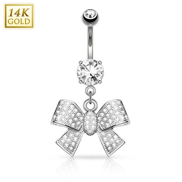 14Kt Gold Ribbon Dangle with Micro Pave CZ Belly Button Navel Ring - 14GA (Sold Ind.)