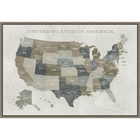 Slate US Map by Sue Schlabach Framed Canvas Art