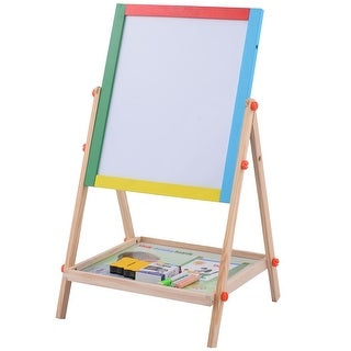 Costway Adjustable 2 In 1 Wooden Easel Chalk Drawing Board Black / White Children Kids
