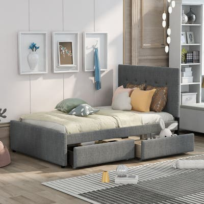 Nestfair Modern Full Size Linen Upholstered Platform Bed With Headboard and Two Drawers