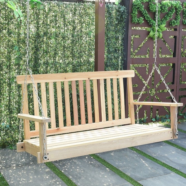 Costway 4 FT Porch Swing Natural Wood Garden Swing Bench Patio Hanging Seat  Chains   As
