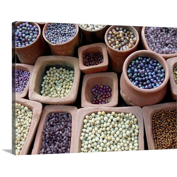"""Beads for sale at a market"" Canvas Wall Art"