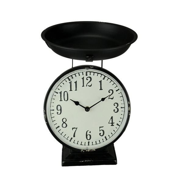 Black Metal Vintage Farmhouse Weight Scale Table Clock - 13.25 X 10 X 10 inches