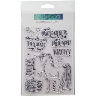 "Concord & 9Th Clear Stamps 4""X6""-Unicorn Awesomeness"