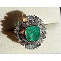 4.75TCW 14K Natural Emerald & Diamond One of a Kind Estate Deco Cocktail Ring - Thumbnail 1